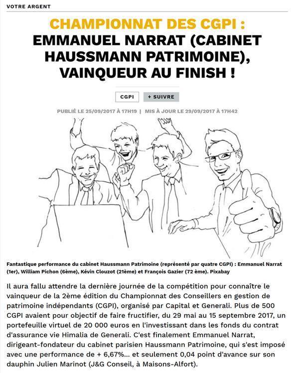 article de presse dans capital championnat des CGPI Emmanuel Narrat vainqueur