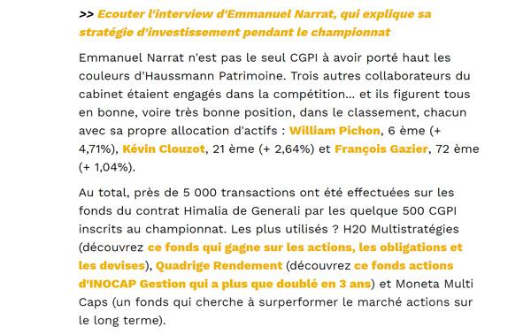 article de presse dans Capital stratégie investissement de Emmanuel Narrat lors du championnat