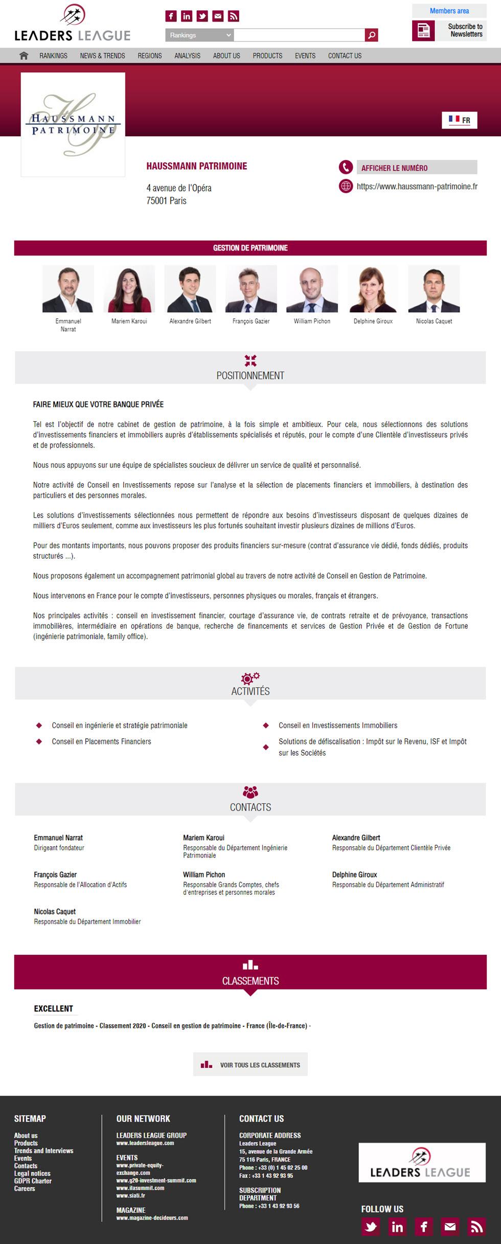 classement des conseils en gestion de patrimoine par Décideurs : meilleurs CGP 2020 Haussmann Patrimoine classement excellent CGP