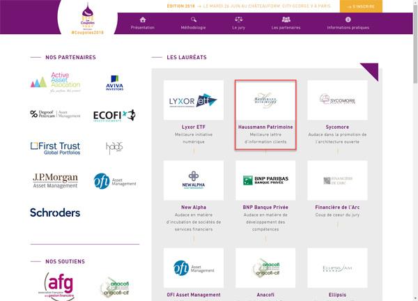 capture d'écran du site distrib invest avec les lauréats du prix de la meilleure lettre d'information client
